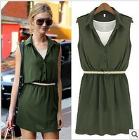 Free Shipping 2013 Wholesale Autumn Designer High Quality Casual Dress Plus Size Women Chiffon Dresses with Belt & Vest DM131561