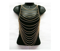 Free Shipping,Hot Selling Fashion Jewelry Ladies Silver Multi Layers Full Body Metal Chain,Hand Made Body jewelry