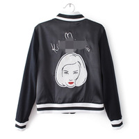 Head Embroidery Limited Baseball Uniform Jacket Short Coat Leather Hiking Girl Womans Fashion Short Skull Clothing
