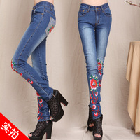 Free Shipping New arrival autumn national embroidery trend denim jeans, flower vintage pencil trousers  YK9187