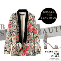 2013 Autumn Women's Fashion Peony Flowers Color Splicing Black Neckline No Button Casual Suit Jacket