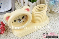Rilakkuma Happy Bear lazy alarm table clock cartoon with pen box storage creative clock 2 in 1 function