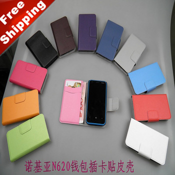 New 2013 wallet pocket velvet fabric leather cell mobile Phone case cover shock proof accessories items for NOKIA Lumia 620 N620