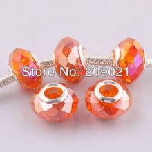 DIY 14MM Honey Orange Faceted Crystal Glass Big Hole European Beads Fit Bracelet Chain Finding