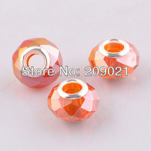 DIY 14MM Honey Orange Faceted Crystal Glass Big Hole European Beads Fit Bracelet Chain Finding