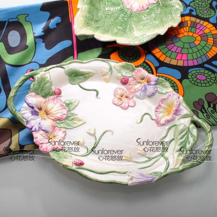 Moda decoração compotier luxo prato de frutas de café cerâmica prato de frutas secas prato de frutas lanche cerâmica bandeja grande(China (Mainland))