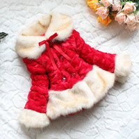 Retail 1pc Red Kids Faux Fur Coat Children Luxury Jacket Faux Fox Fur Collar Fleece Lining Winter Girls Outerwear Free Shipping