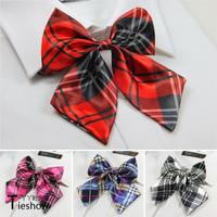 Cravat school uniform bow tie bow red plaid gray