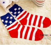 High Quality Women Cotton Sweet Socks Girl American Flag Socks Ladies Sock 10pairs/lot Wholesale