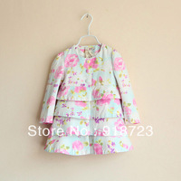 new arrival brand autumn and winter spring children girls trench outerwear flower print 2-8yr fashion retail cake