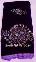 velvet lace, plain velvet, colorful stone. rich lace fabric, free shipping, new designs, J135-1 purple