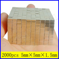 A pack of 2000pc 5mm x 5mm x 1.5mm thick N35 Block Cuboid Powerful Magnets Super Strong Rectangle Neodymium Magnet Free shipping