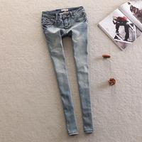 2013 little skull decoration slim elastic skinny pants jeans female