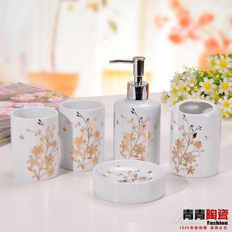 خمس قطع من السيراميك مجموعة الحمام مجموعة الحمام shukoubei عدة مستحضرات الحمام الأدوات الصحية(China (Mainland))