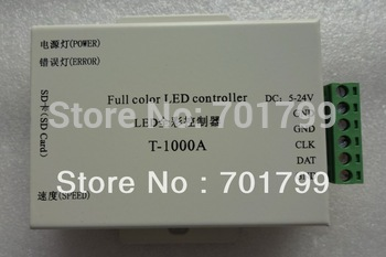 T-1000A,LED sd card pixel controller,DC5-24V input;full color;SPI signal output;1024 pixels controlled