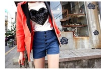 2013 free shipping New Arrival  Hot Sale Simple High Waist Short Pants Blue ZJ12052701-1