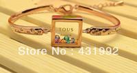 Elegant exquisite fashion star favorite multicolored crystal bracelet cute female square