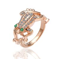 18KGP R013 Jumping Frog Ring 18K Gold Plated Ring, Jewelry Nickel Free Plating Platinum Rhinestone Austrian Crystal SWA Element