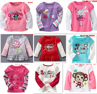 brand 2013 new arrivals100% cotton  kid clothes child blouse sport clothing for baby girl long sleeve flower bird rabbit pink