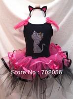 Cat design Tutu outfits Petti Dress Skirts Party costume ballet Dress dance dress +headband #2671