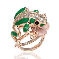 18KGP Jewelry 18K Gold Plated Green Frog Ring Nickel Free Golden Plating Platinum Rhinestone Austrian Crystal SWA Element R015