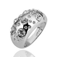 18KGP R088 Clear Stone 18K Platinum Plated Ring Jewelry Nickel Free K Golden Plating Platinum Austrian Crystal SWA Element
