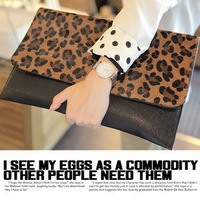 Freeshipping Dropshipping spring and summer day clutch envelope bag horsehair leopard print bag clutch bag women's handbag