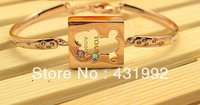 Elegant fashion exquisite 18K gold colorful crystal bracelet female birthday gift Teddy Bear