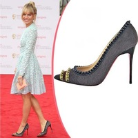 2013 Summer famous red bottoms brand new fashion , Sexy horsehair rivets pointed toe high-heel party shoes