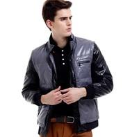Escalier brand men's clothing PU white duck down coat outerwear winter removable plus size