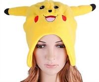 Lovely Cartoon Animal Hat Plush Winter Warm Cap Yellow Pikachu Hats Cap, A2715 Free Shipping,Wholesale