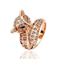 18KGP R026 18K Gold Plated Fox Ring Health Jewelry Nickel Free K Golden Plating Platinum Austrian Crystal SWA Element