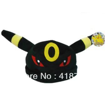 Pocket Monsters Pikaqu Pokemon Black Hat Red Eye Plush 12inch Cap Gift Cosplay Free Shipping Wholesale(China (Mainland))