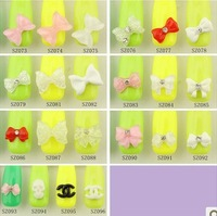 New arrvial 3D Acrylic Mix Color Bow Tie Nail Art Tips Beads Glitters DIY Decorations Nail art accessories bow finger decoration