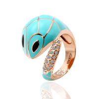New 18KGP R032 18K Gold Plated Blue-Snake Ring Nickel Free K Golden Plating Platinum Rhinestone Austrian Crystal SWA Element