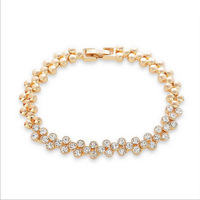 Free Shipping Fashion Luxurious 18K Gold Plated Crystal Chain Bracelets Bangles Crystal Rhinestone Accessories for Women Ladies