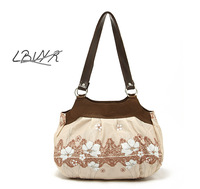 2013 HOT SELLING! Endulge ibvyr beige simple and elegant flower women's handbag canvas bag FREE SHIPPING