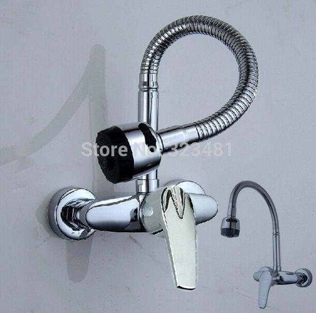 Online Cheap Brass Double Handle Kitchen Sink Faucet Mixer Wall ...