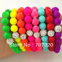 Handmade Jewelry Hot Neon Bracelet Fluorescence Candy Color Beads Disco Shamballa Ball  Stretch Bracelets free ship
