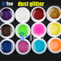Free shipping 12pcs/lot Dust glitter nail art UV gel builder gel nail polish wholesale & dropshiping