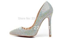 2014 crystal high heel shoes wedding shoes platform pumps rhinestone woman 12cm high heels