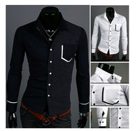 hot Free Shipping 2013 the spring of the new ideas of leisure fashion long-sleeved shirt ,size: M-XXL