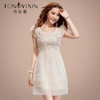 Free Shipping 2013 Summer One-piece Dress Elegance Embroidery Top Quality Organza Lace Ball Gown Formal Dress for Women