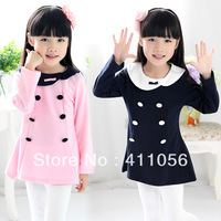 2013 autumn double breasted girls clothing baby child long-sleeve dress qz-0906