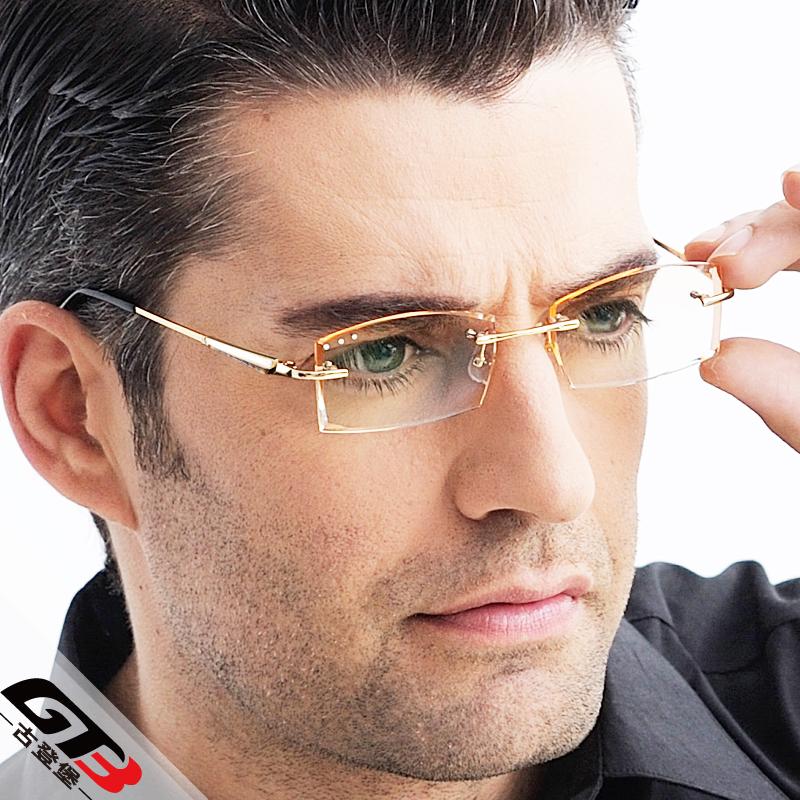 Frameless Mens Glasses : Diamond myopia glasses Men rimless titanium eyeglasses ...