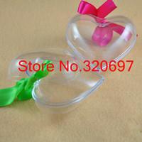 Free EMS Shipping!100pcs/Lot 8cm transparent heart christmas ball, Decorative Clear Plastic Balls For Wedding/Christmas