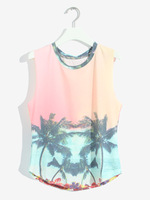 Fashion o-neck loose retro finishing gradient sleeveless vest women's t-shirt