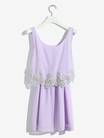 Handmade bead paillette lace tank dress women's sleeveless a-line skirt chiffon shirt top