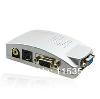free shipping PC Laptop Computer VGA to RCA AV Signal TV S-Video Converter adapter