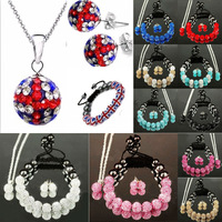 Handmade 10mm*11pcs Shamballa Bracelets ,Necklaces , Pendants, Disco Balls CZ Crystal,Fashion Jewelry Sets, Mix Colours Options